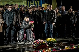 Photo's credits: news.kievukraine.info. An emotional speech of Yulia to the crowd in Kiev after she was released.